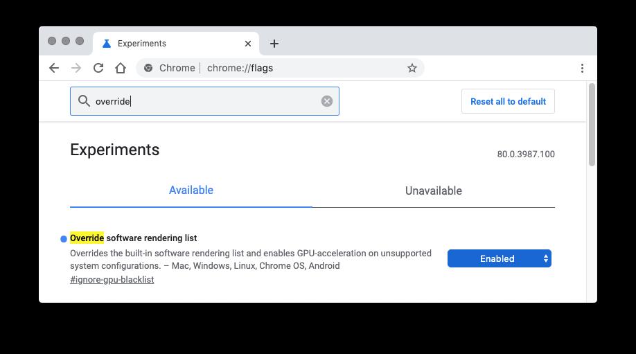 Chrome WebGL troubleshooting page